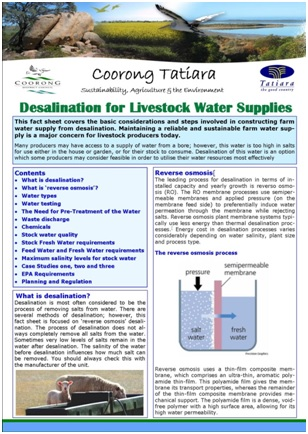 1. FACT SHEET Desalination for Livestock Water Supplies