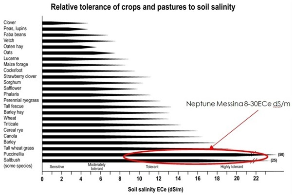 10 Relative tolerance of crops and pastures to soil salinity