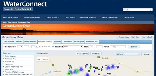Water Connect Obswell web page