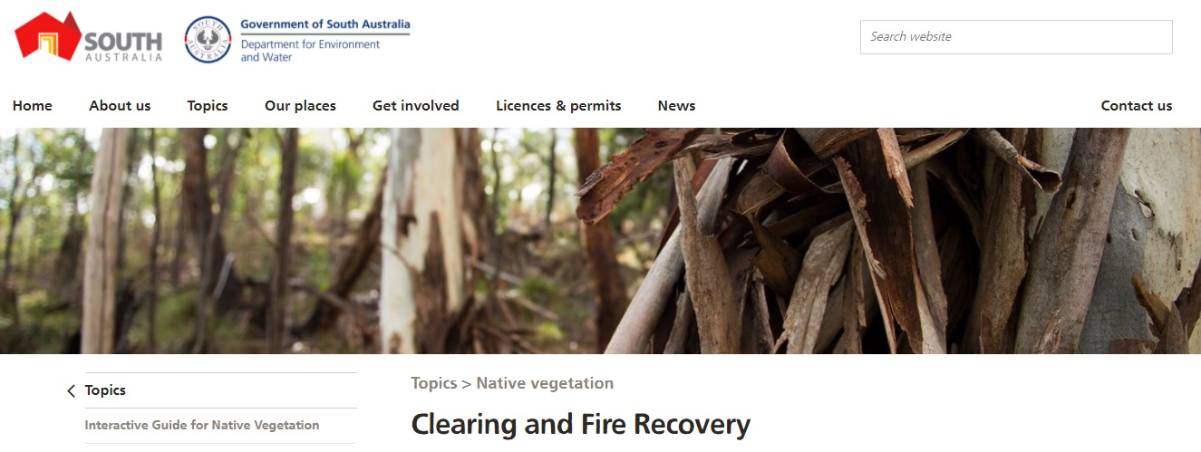 Clearing and Fire Recovery web snap shot